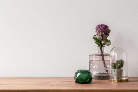 Close-up of a flower in a pink glass vase and a small cactus in a dome on the side of a wooden surface and an empty, white background