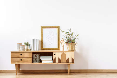 Scandinavian wooden cabinet with books, plants and decorations by en empty wall in a white minimalist apartment interior
