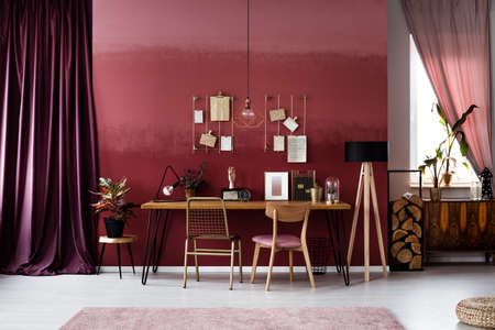 Gold chair at desk against burgundy wall in workspace interior with dark cloth and plant Stock Photo