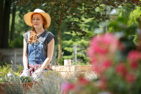 Smiling woman working in the garden and resting on a sunny day Stockfoto