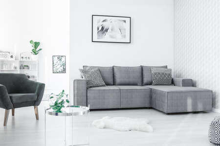 Black and white poster hanging on the wall in open space flat interior in Nordic style with fresh plants Standard-Bild - 101895264