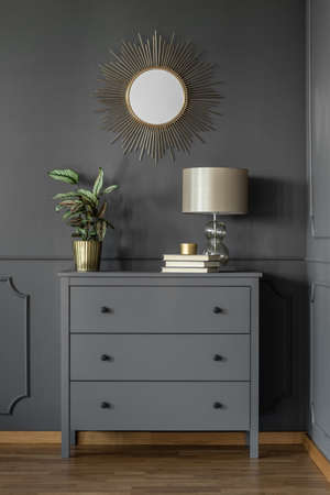 Gold round mirror on grey wall above cabinet with lamp and plant in living room interior