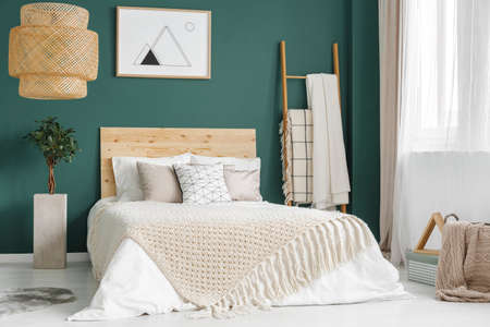 Plant and rattan lamp in green cozy bedroom interior with wooden bed against the wall with poster Фото со стока