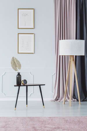 Lamp next to black table against the wall with posters in pink living room interior with cloth Stock Photo