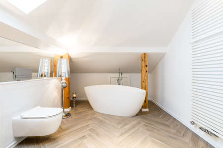 Modern, white attic bathroom interior with oval, ceramic bathtub, wall heater and exposed wooden beams Stock Photo