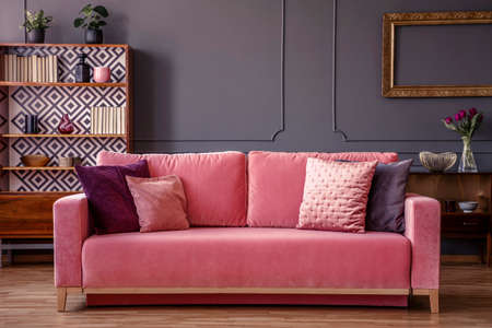 Pink velvet couch with decorative pillows standing in grey living room interior with vintage cupboard, fresh plants and molding on the wall