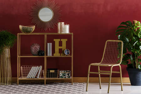 Gold chair and plant near shelves against red wall with round mirror in elegant living room interior Imagens