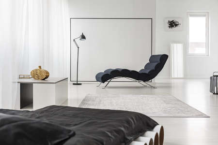Black bedding on bed in spacious bedroom interior with chaise lounge near lamp and grey rug