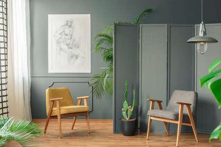 Due sedie in piedi su un pavimento di legno in una stanza grigia interna accanto a uno schermo e piante intorno a loro