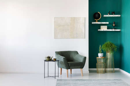 Simple living room interior with green armchair, plants, teapot set on the table and marble shelves on the wall Фото со стока