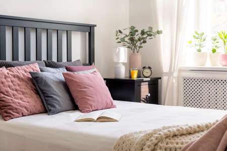 Close-up on a book and pink and grey pillow on bed in cozy bedroom interior with plant. Real photo Stockfoto