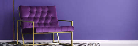 Purple armchair with gold metal frame standing on patterned black and white carpet in violet reading room interior. Place your product here