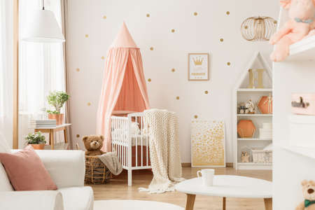 Pink canopy above cradle in babys bedroom interior with gold posters and teddy bear in basket