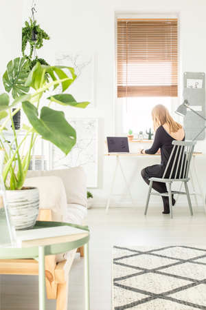 Blonde girl sitting by the study corner desk with lamp and laptop in white living room interior with map posters and fresh plants