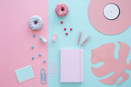 Notebook, nail polishes, clips and donuts on pink and blue background with leaf and vinyl 版權商用圖片