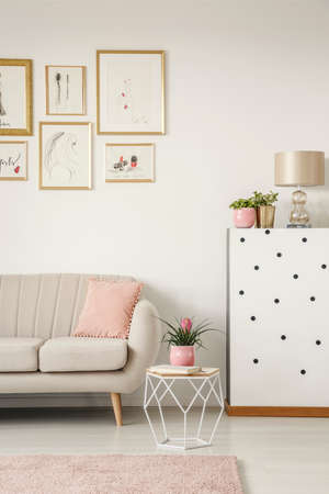 Cropped photo of a sofa, modern coffee table, paintings and lamp in a sweet living room interior