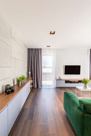 Green couch and wooden floor in spacious apartment interior with grey drapes and window