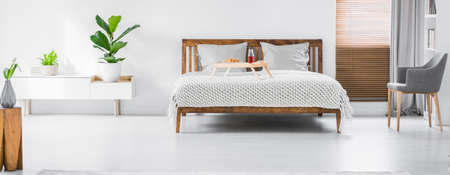 Panorama of a bright bedroom interior with cabinet with green plants on top and wooden double bed standing against a white wall. Breakfast tray, pillows and blanket on the bed. Real photo. Stock Photo