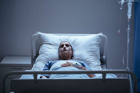 Weak and lonely woman with cancer during chemotherapy in the hospital Stock fotó - 102923645