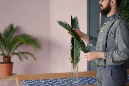 Close-up of man with beard wearing a grey shirt putting palm leaves into a glass vase Stock Photo