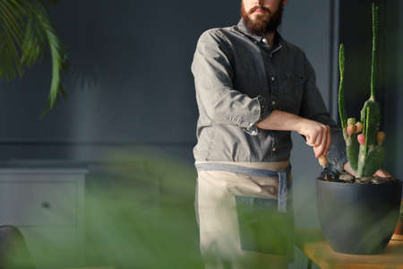 Close-up of gardener with beard wearing a work suit taking care of a cactus