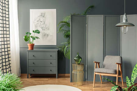 Grey chair with a decorative screen standing next to a cupboard surrounded by plants in a grey, botanic room interior Stock Photo