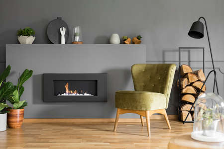 Black fireplace between plants and green armchair in grey flat interior with lamp. Real photo