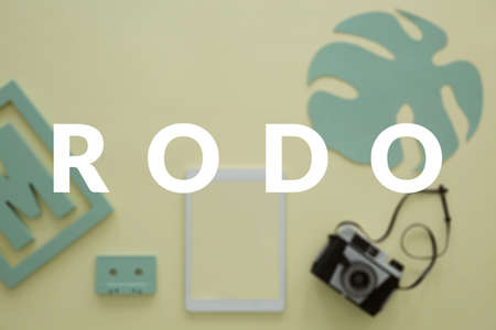 Monstera leaf, vintage camera and yellow tablet on a blurred desk of a blogger. RODO implementation in a small, creative business concept