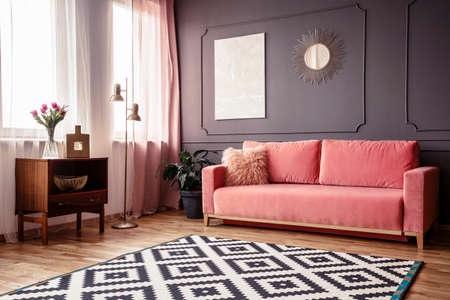 Side Angle Of A Living Room Interior With A Powder Pink Sofa ...