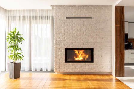 Fireplace on brick wall in bright living room interior of house with plant and windows. Real photo Standard-Bild