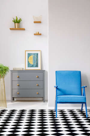 Open space living room interior with blue armchair, linoleum floor, grey cupboard with decor and fresh potted plant on wooden shelf