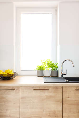 Plants on wooden countertop in bright kitchen interior with window. Real photo 写真素材 - 104071288