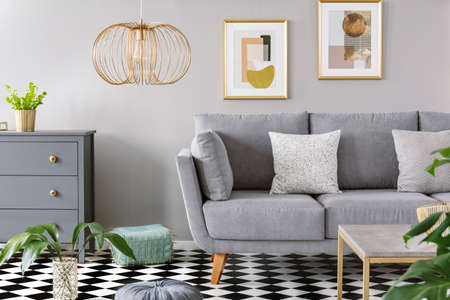 Two patterned cushions placed on grey sofa standing in bright living room interior with fresh plants, wooden cupboard, gold lamp and two simple posters on the wall Stock Photo