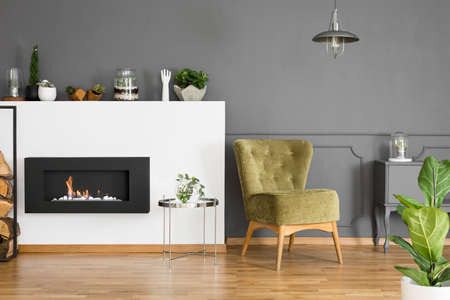Green armchair and silver table next to fireplace in grey apartment interior with plant. Real photo