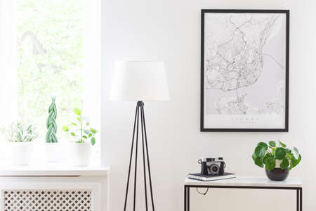 Poster above table with camera and plant next to lamp in living room interior with window. Real photo Stock Photo