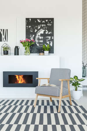 Real photo of a patterned armchair standing in front of a bio fireplace in warm and cozy living room interior with striped rug, poster on a wall and plants around