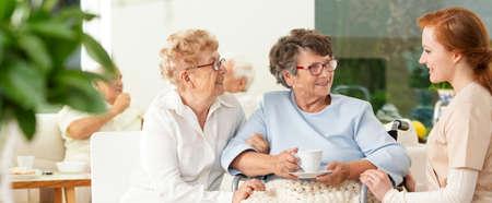 Un viejo amigo visita a una anciana en silla de ruedas en un lujoso hogar de ancianos. Asistente de cuidador profesional. Panorama.