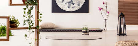 Poster above futon in peaceful apartment interior with plants and round rug on the floor. Real photo Stock Photo