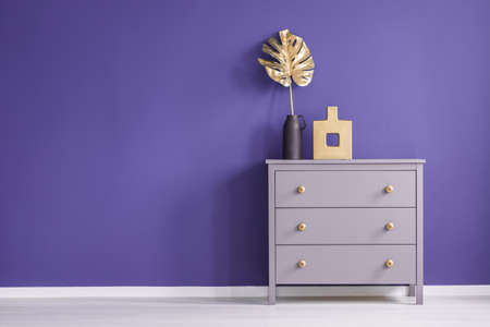 Chest of drawers with golden knobs, vases and leaf set on a purple, empty wall in room interior. Place your product