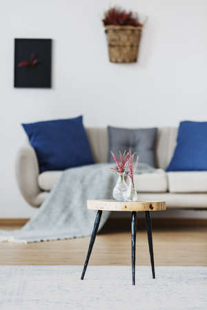 Wooden stool with pink flowers in glass vases on white carpet in blue living room interior with sofa