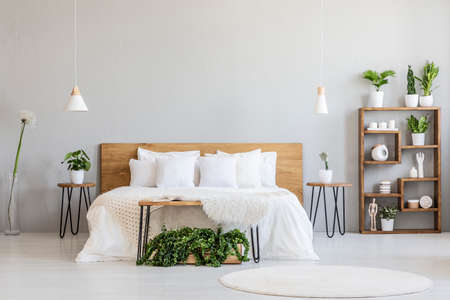 White pillows on wooden bed in minimal bedroom interior with plants and round rug. Real photo Archivio Fotografico