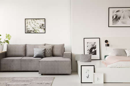 Real photo of a grey sofa with cushions standing next to a white platform bed in monochromatic small flat interior with posters on the walls Stockfoto