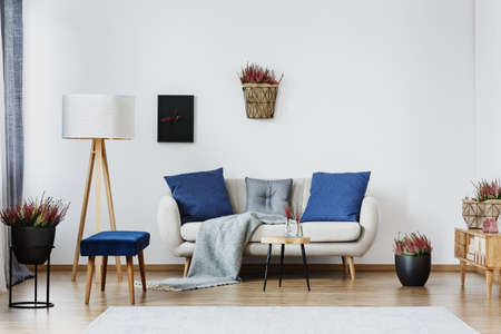 Blue cushions on beige couch against white wall with heather and copy space in living room interior with lamp