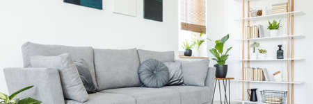 Panorama of pillows on a comfortable, gray sofa and a scandi style, wooden bookcase by a white wall in a minimalist living room interior Stock Photo