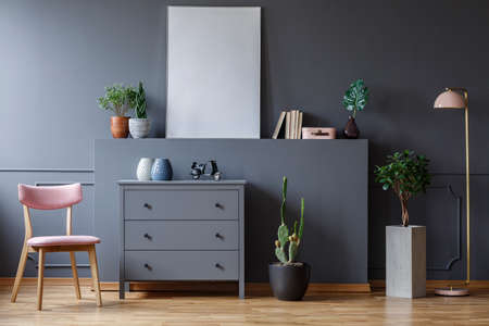 Pink wooden chair next to grey cabinet in living room interior with plants and poster. Real photo