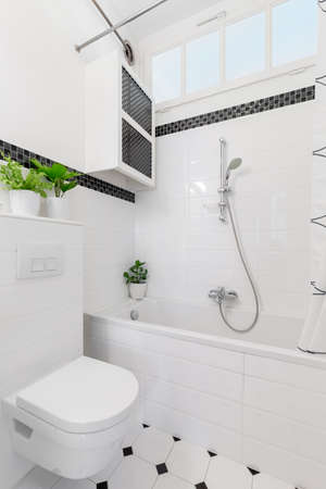 Plants above toilet in white and black bathroom interior with cabinet above bathtub. Real photo Stock Photo