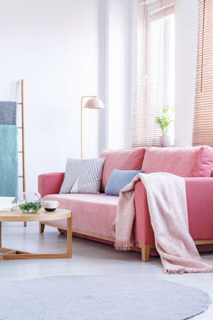 Blanket on pink sofa with pillows in bright living room interior with table and lamp. Real photo Archivio Fotografico