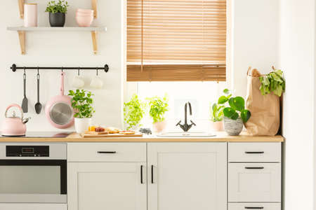 Real photo of a kitchen cupboards, countertop with plants, food, and shopping bag, and window with blinds in a kitchen interior