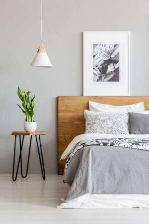 Planter sur la table à côté du lit en bois dans l'intérieur de la chambre grise avec lampe et affiche. Vrai photo
