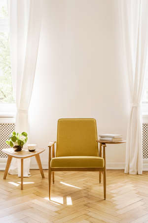 Yellow wooden armchair next to table with plant in white living room interior with drapes. Real photo Stock Photo